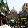 Busy Old Delhi street with the Jami Masjid in the background