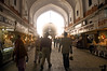 Inside Red Fort - a lane of stores selling Indian crafts and fineries