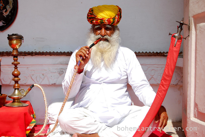 Posing with a pipe inside Mehrangarh Fort in Jodhpur.