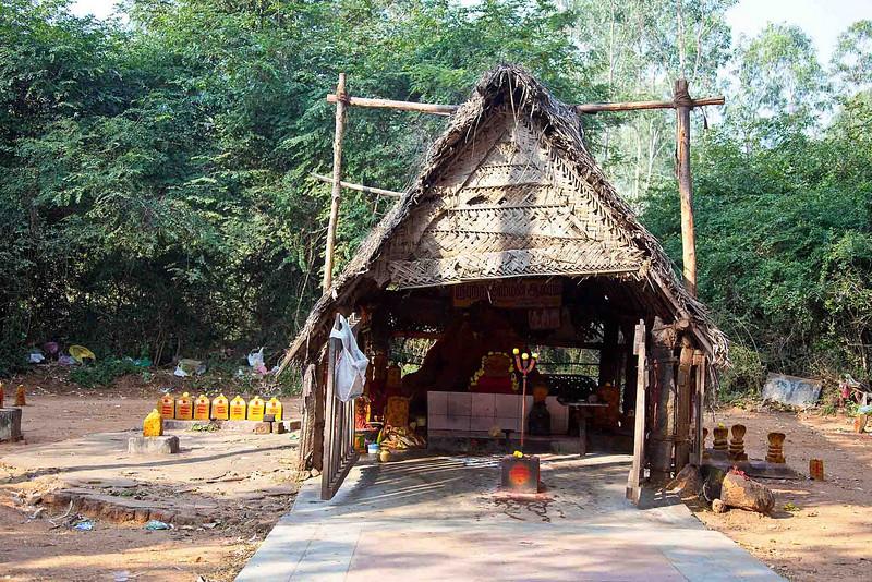 A roasdside snake-worship temple. The Snake is a fertility enhancer.