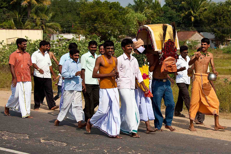 A religious procession, apparently a joyous one.