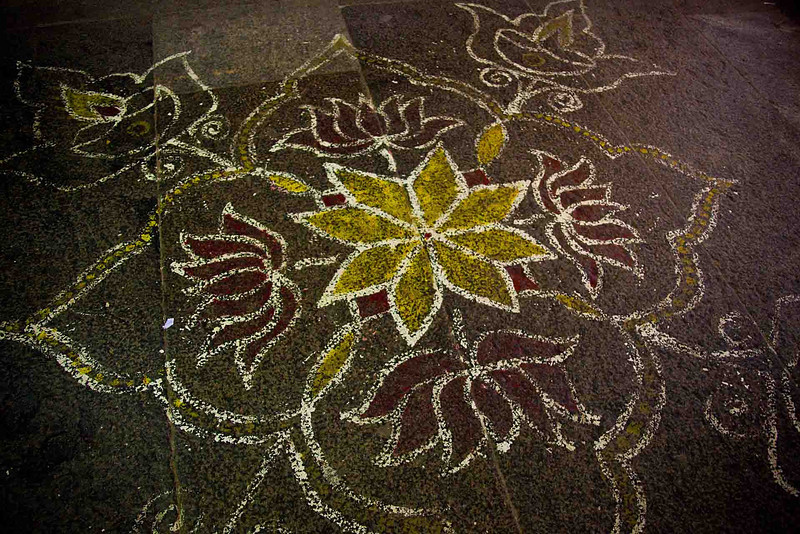 Chalk threshold design is refurbished by village women daily.