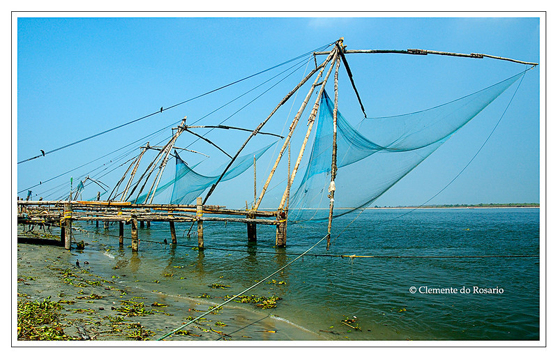 Chinese Fishing nets of Fort Cochin in the city of Cochin, Kerala, India.<br /> File Ref: Kerala-2006 005R-F copy