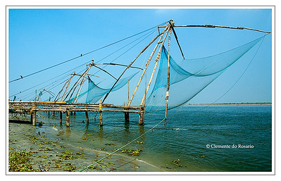 Chinese Fishing nets of Fort Cochin in the city of Cochin, Kerala, India. File Ref: Kerala-2006 005R-F copy
