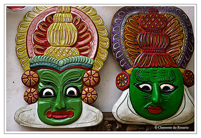 Hand crafted Kathakali Masks depicting the makeup used by Kathakali dancers in Kerala, South India File Ref: Kerala-2006 040R