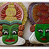 Hand crafted Kathakali Masks depicting the makeup used by Kathakali dancers in Kerala, South India<br /> File Ref: Kerala-2006 040R