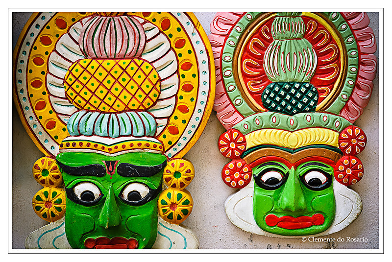 Hand crafted Kathakali Masks depicting the makeup used by Kathakali dancers in Kerala, South India<br /> File Ref: Kerala-2006 039R