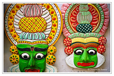 Hand crafted Kathakali Masks depicting the makeup used by Kathakali dancers in Kerala, South India File Ref: Kerala-2006 039R