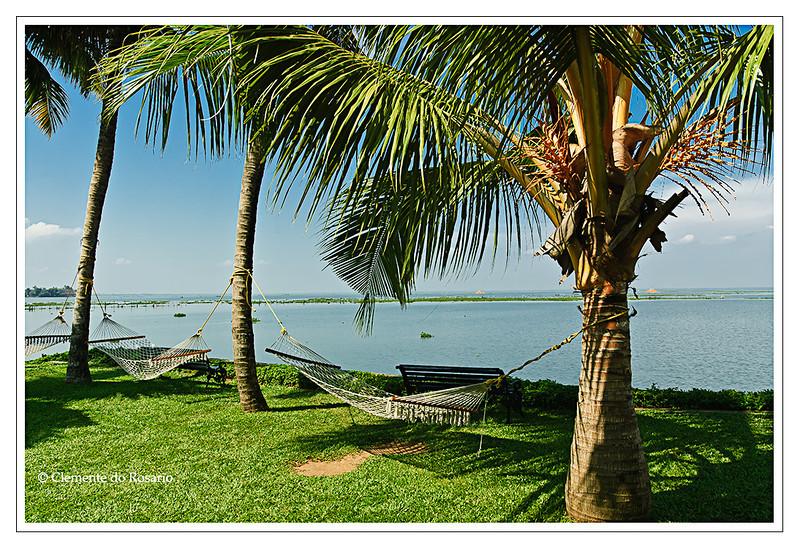 Hammocks on the shores Vembanad Lake, Kumarakom Lake Resort,Kumararkom,Kerala,India<br /> File Ref: Kerala-2006 131R