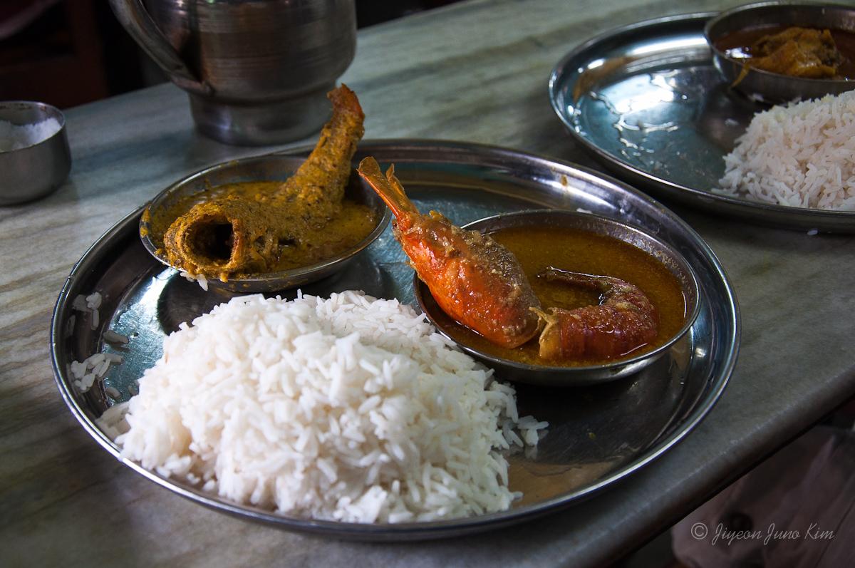 Bengali food - prawn and fish