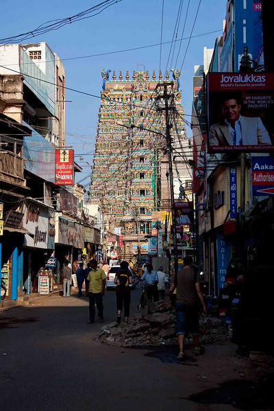 First sighting of Sri Meenakshi Temple. Proof that Madurai has electric power abounds.