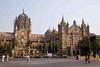 Chhatrapati Shivaji Terminus (Victoria Terminus, renamed in 1998), 1837, busiest train station in India, and a World Heritage Site. The Brits certainly know how to build train stations! Note the taxis at the curb. The next three pictures are closeups of the upper details of the station.