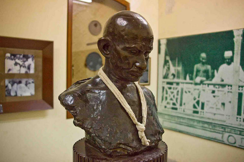 A bust of Mahatma Gandhi in his home, now a museum.