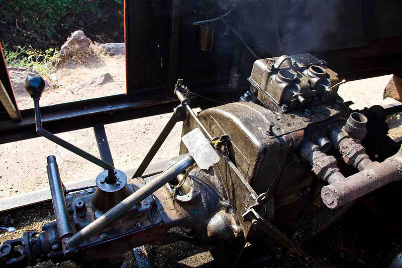 The well-used engine. The smoke is burning oil.