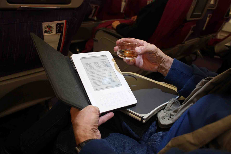 Breaking in the Kindle E-reader and a little cognac