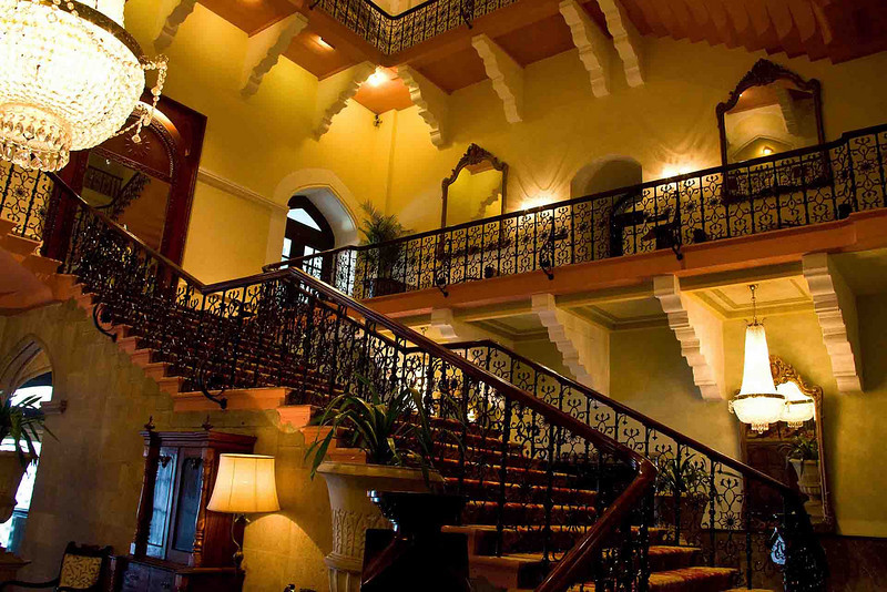 Grand staircase at the old Taj Mahal Hotel