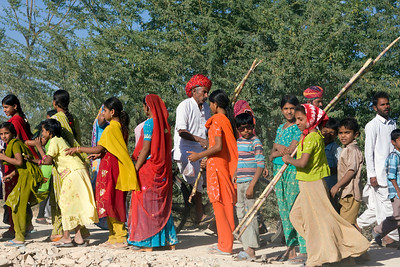 Locals of Nimaj Bagh on their way to the local fair. Its all about colour in Rajasthan!  Copyright for this photo belongs to Lesley Bray.