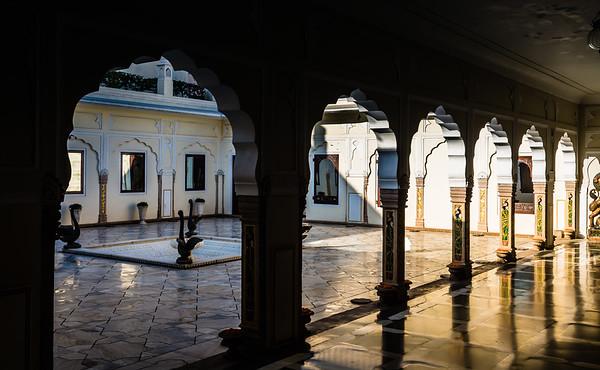 Courtyard Moti Chowk at the Raj Palace in Jaipur Rajasthan