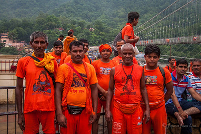 Pilgrims in Rishikesh for the holiday