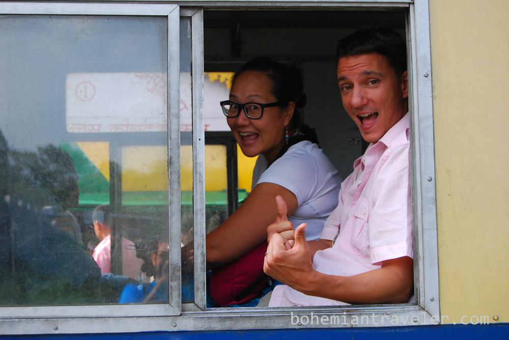 Juno and John riding the Shimla Toy Train.
