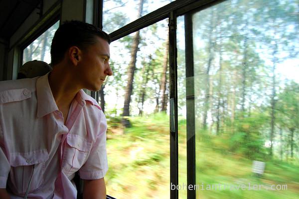 John riding the Shimla Toy Train.