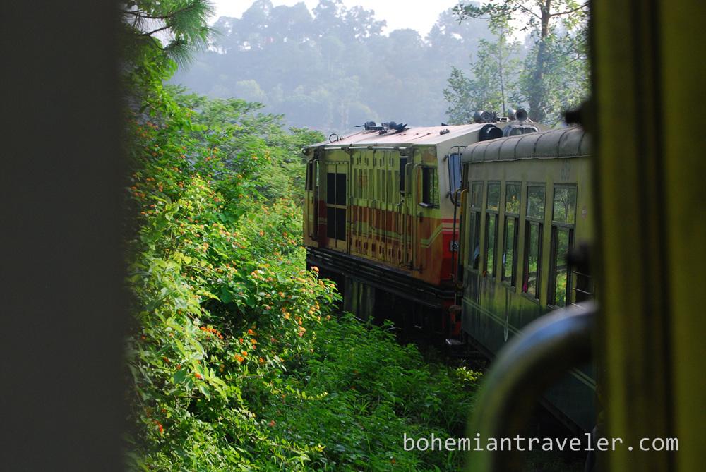 The Shimla Toy train chugging up to Shimla.