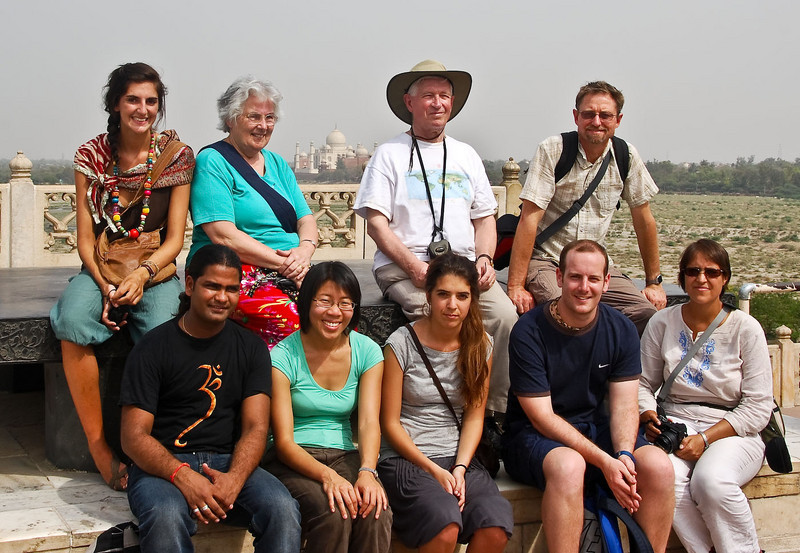 'Classic Rajasthan' group with guide, Monty. View from the Red Fort with Taj in background.