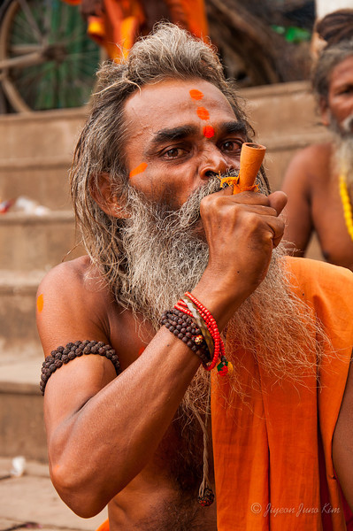 A hindu pilgrim at Dashashwamedh Ghat, Varanasi, India