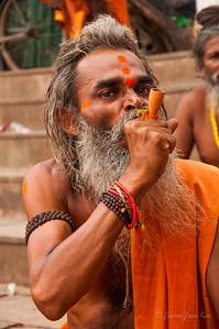 A hindu pilgrim at Dashashwamedh Ghat, Varanasi, India