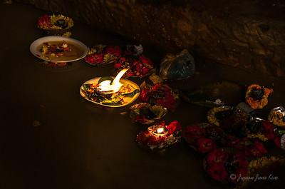 Flower offering on the Ganges