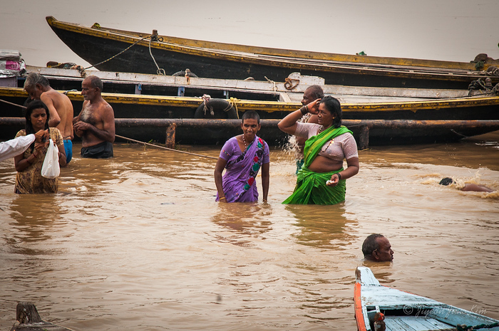 Bathing in the Ganges River - Varanasi, India
