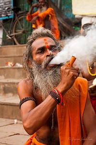 A hindu pilgrim in Dashashwamedh Ghat Varanasi, India
