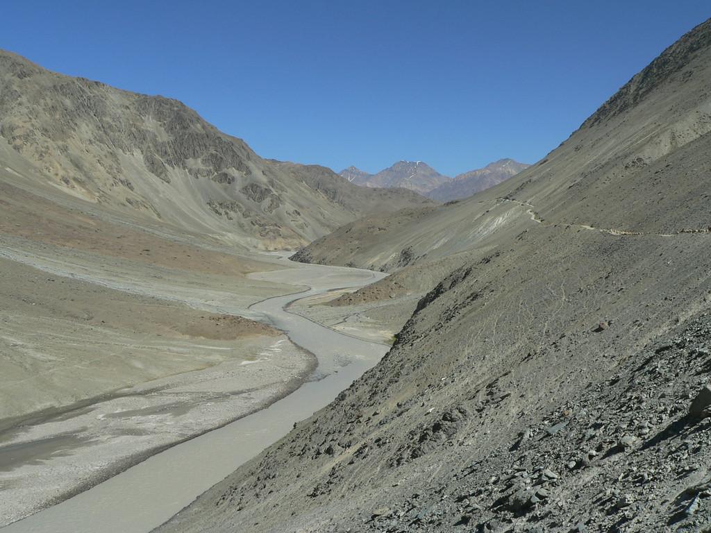 As we headed to Lake Chandratal, the geology changed considerably. Less rocky and a lot more sand and alluvial silt. The 'road' was more blurred, narrower and definitely more dangerous.