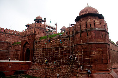 Delhi's 'Red Fort' with bamboo scaffolding.