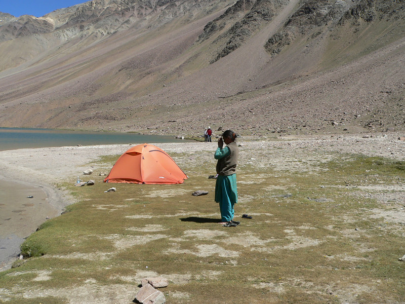 This lady (presumably from a village nearby) spent a good half hour prostrating before the lake. According to Hari Singh the lake is very sacred to the villagers in the eastern Lahaul region.