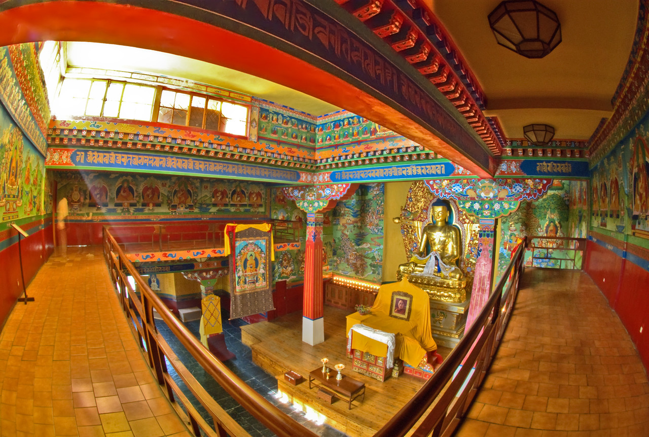 "Deden Tsuglagkhang Temple, Norbulingka Institute, Dharamsala, India.  The Norbulingka Institute, located in Dharamsala about four miles down the hill from McLeod Gang,"" is dedicated to handing down tradition and restoring standards by providing training, education and employment for Tibetans. It supports an environment in which Tibetan community and family values can flourish. It reconciles the traditional creatively and respectfully with the modern, and seeks to create an international awareness of Tibetan values and their expression in art and literature""."