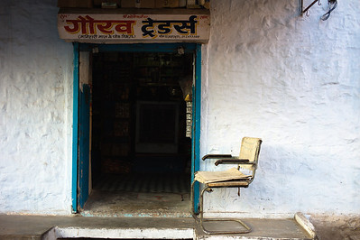 Simple Door and Chair.  Jodhpur, India.