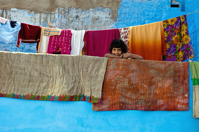 The Perfect Blue Wall with Laundry. Jodhpur, India.