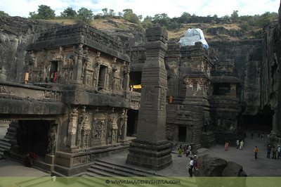 Ellora Caves near Mumbai: This was carved from from a rocky mountain from the top to bottom.