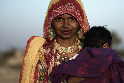 Rajasthani woman and child.