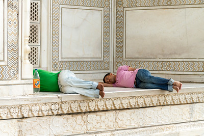 Bus Drivers, Sleeping on Steps of Taj Mahal
