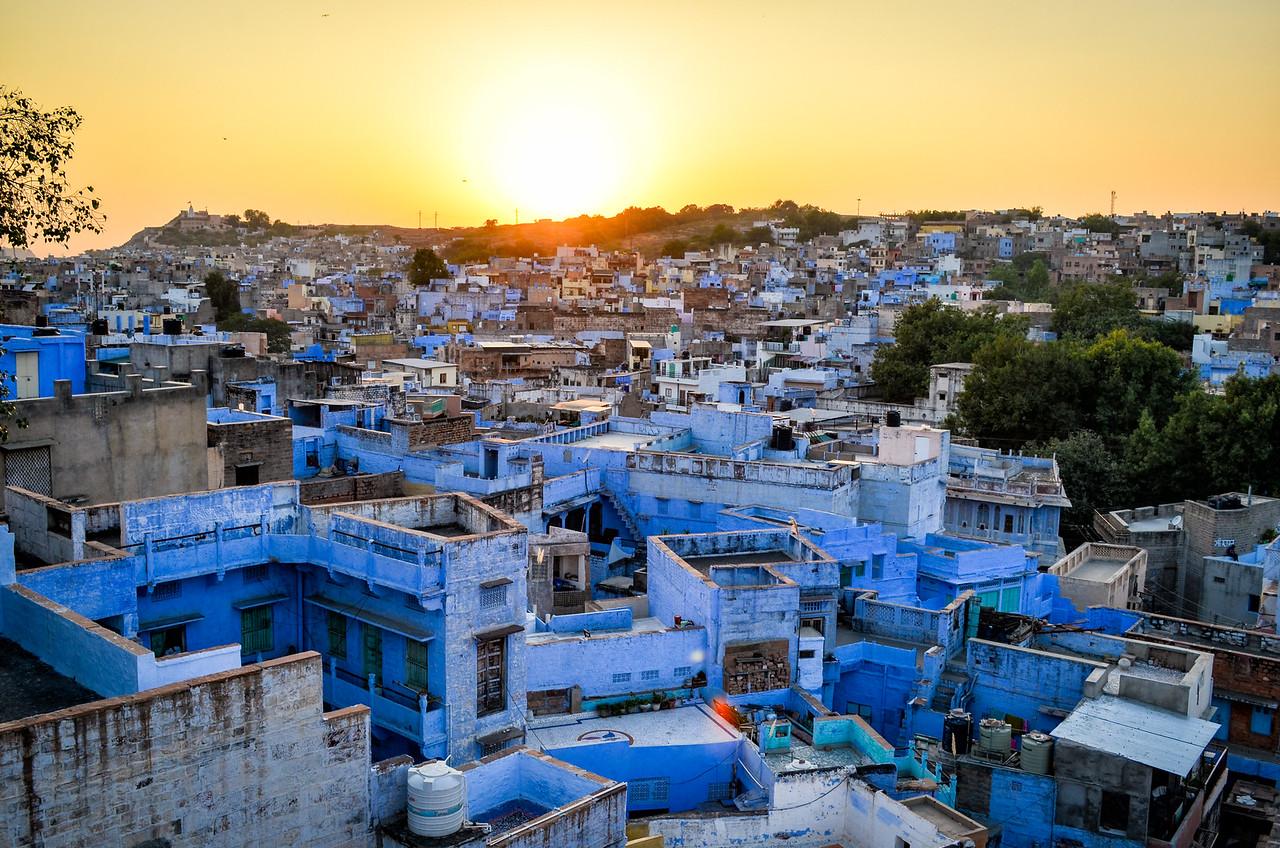Blue city at sunset