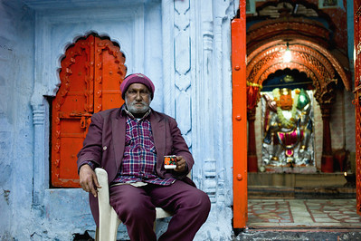 Man having a Chai at a Hindu Temple. Jodhpur, India.