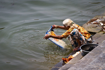 Woman Washing Clothes, Lake Udaipur