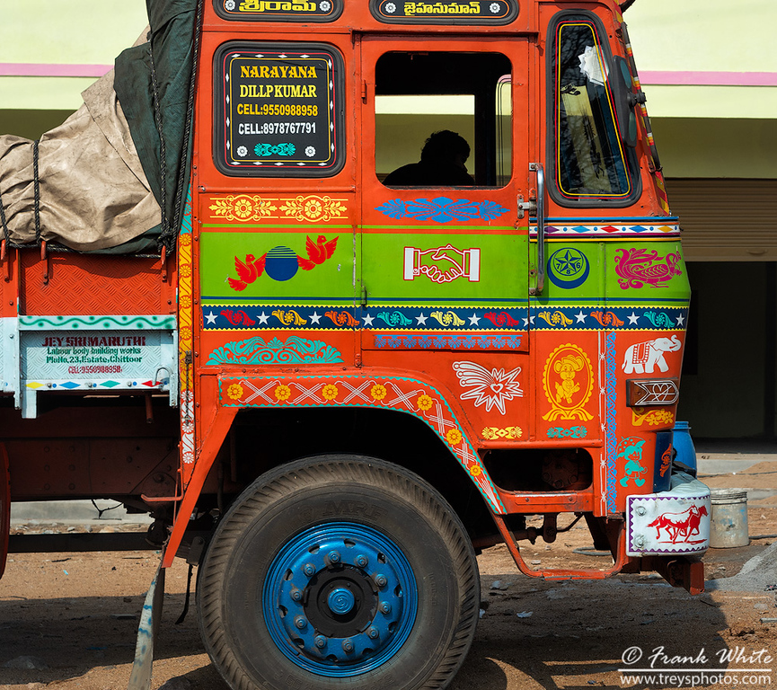 Brightly painted trucks