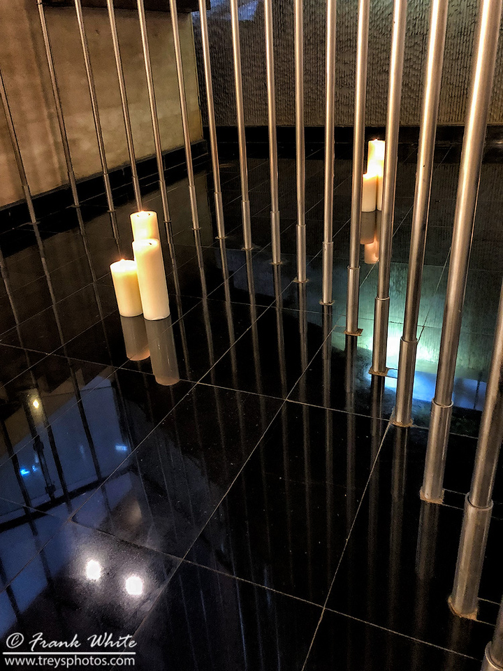 Candles and tiles - lobby of the Westin Mindspace hotel in Hyderabad, India