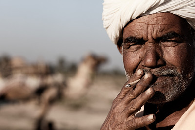 Rajasthani Man Smoking.