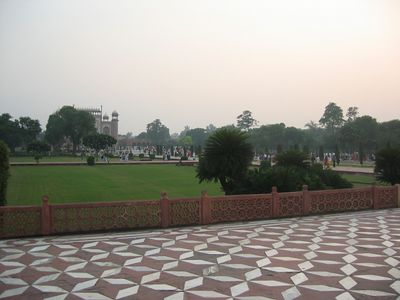 From the southern (front) of the Taj Mahal, facing the gardens.