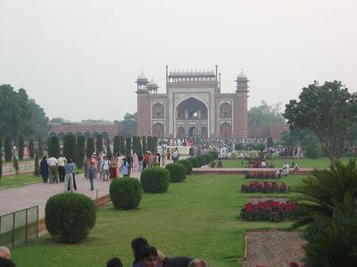 The Darwazah (southern gate) at sunset from the western gardens.