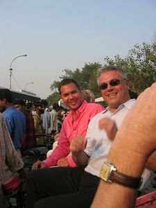 Getting ready for our tuktuk ride through the bazaar of Old Delhi